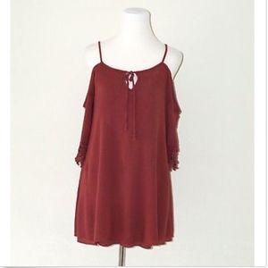 Crochet Open Cold Shoulder Peasant Brick Red Shirt